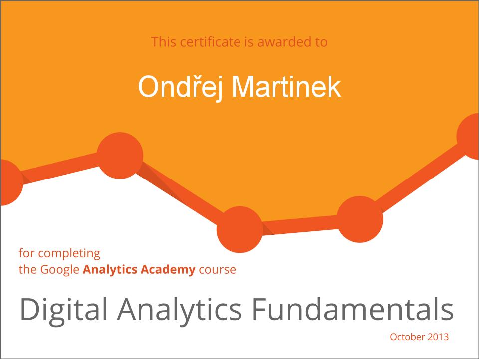 Certifikát Google Analytics - Ondřej Martinek